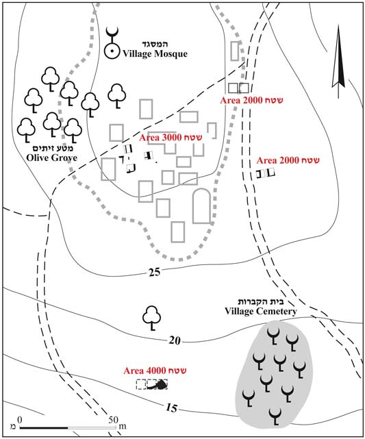 1. The excavation areas, superimposed on a map of the Yakuk village.
