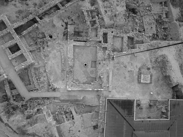 2. Area A-2, the channel, the floors and the wall of the Southern Temple, aerial view.