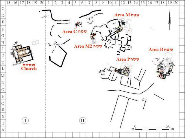 2. Map of excavated areas.