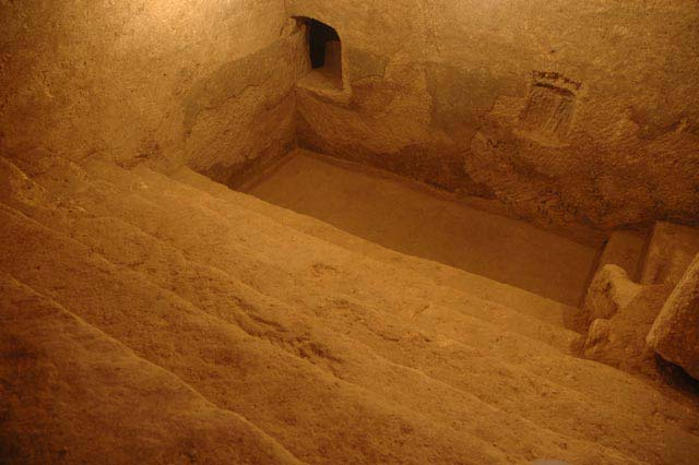 5. Area B, underground ritual bath, looking west.