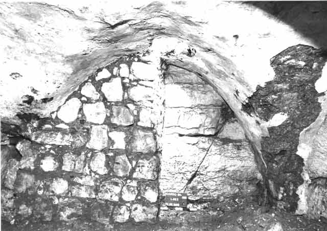8. The bottom story, the wall of the shaft along the western side of the cavity, looking west.
