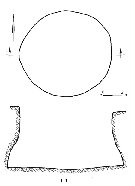 1. Circular pit, plan and section.