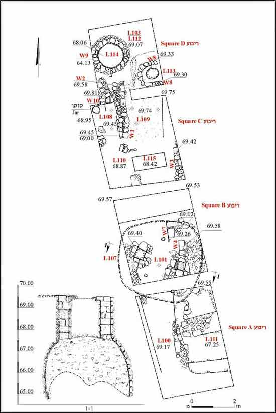 1. Eastern excavation area, plan and section.