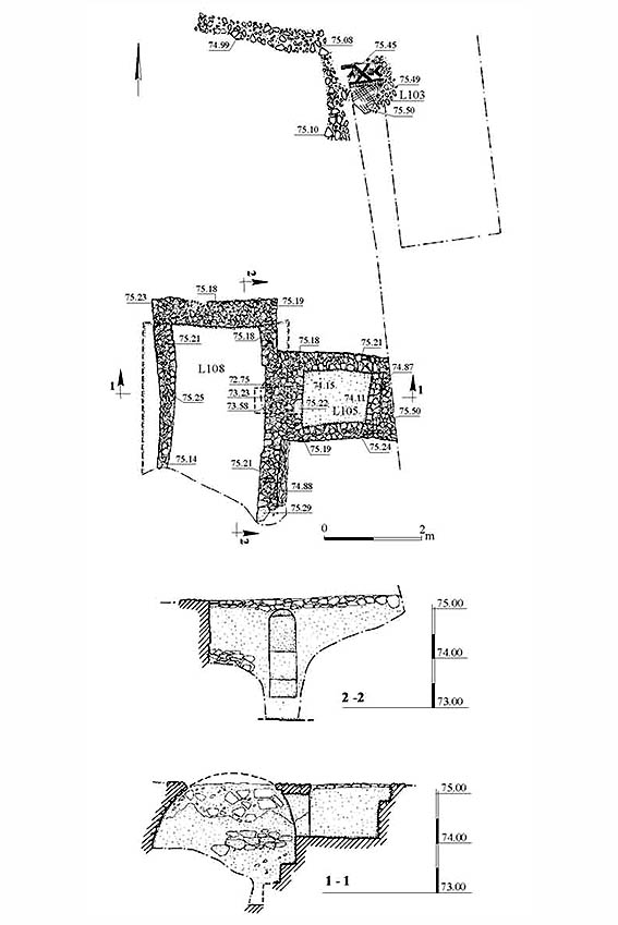 6. Built tomb, plan and section.