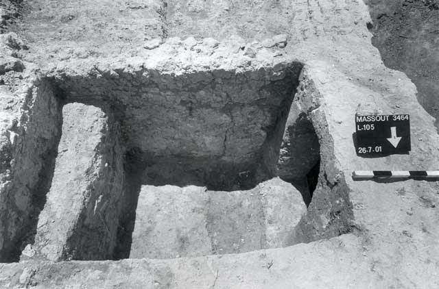 7. Built tomb, opening to burial chamber, looking south.