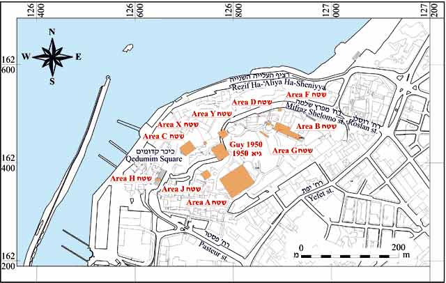 1. Tel Yafo, map of main excavations' areas.
