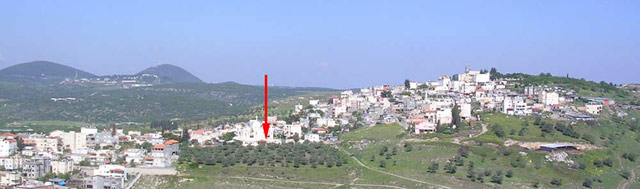 1. General view to the west; the arrow marks the location of the examination.