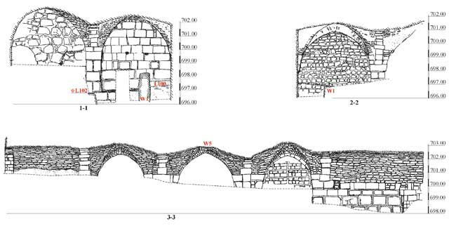 2. The vaulted hall, sections.