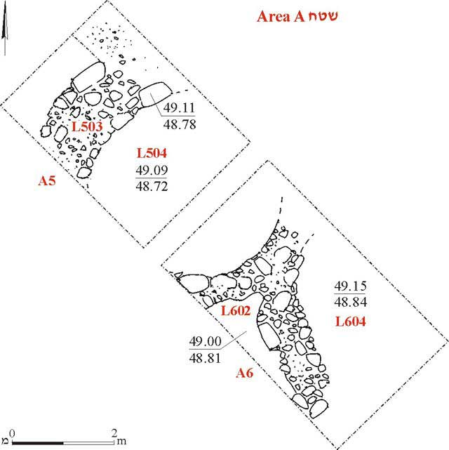 2. Area A, Squares 5, 6, plan.