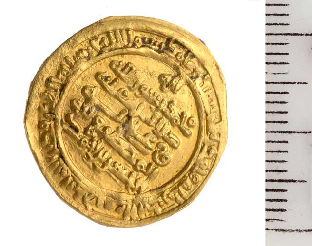 16. Gold coin from the Fatimid period.