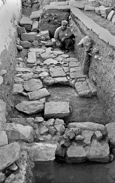 4. Area A, Square 1, pavement from the Crusader period, looking south.