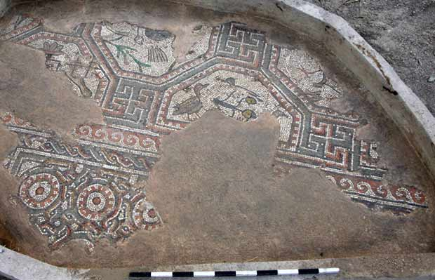 12. Area GB-T, mosaic floor of palace, excavated in 1950.