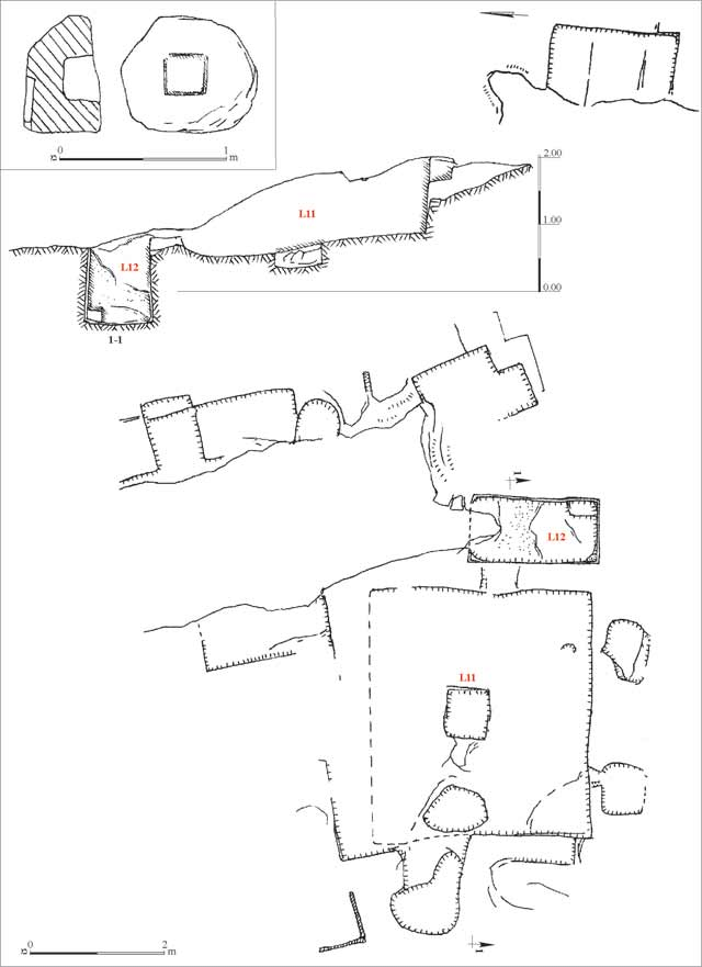 1. Winepress and quarry, plan and section.