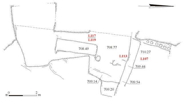 11. Area B, Columbarium 107 and Cave 113, plan.