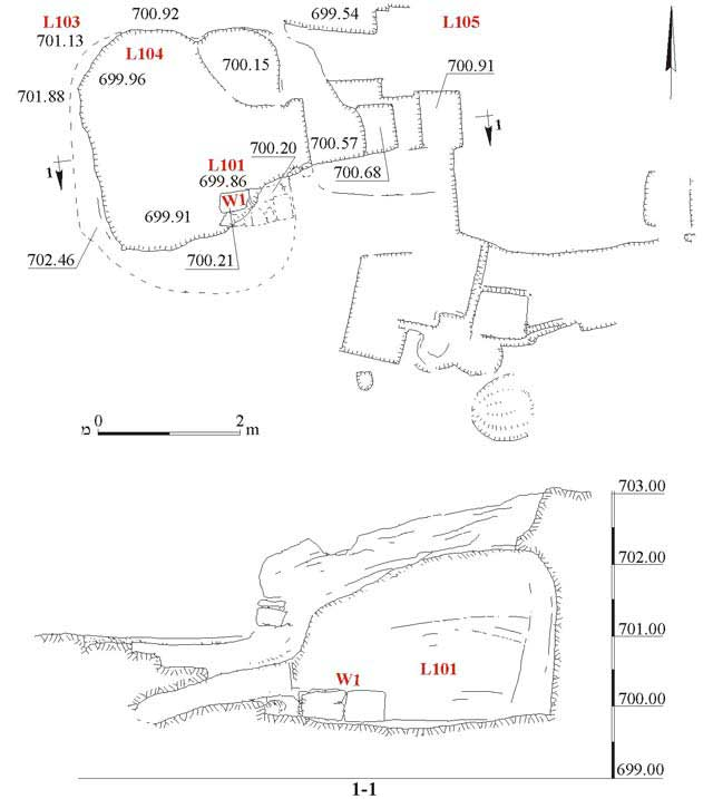 9. Area A, Cave 101, plan and section.