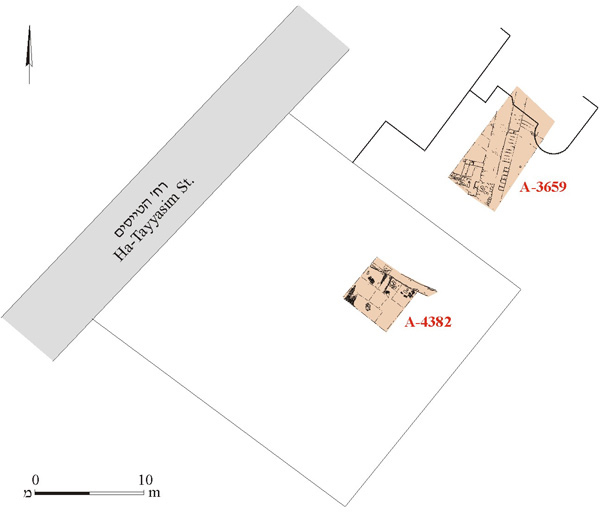 7. The excavations at 21 and 23 Ha-Tayyasim Street, schematic plan.
