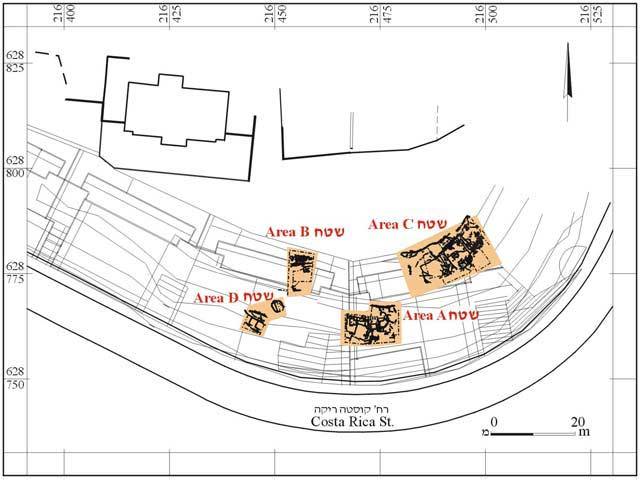1. Location map and excavation areas.