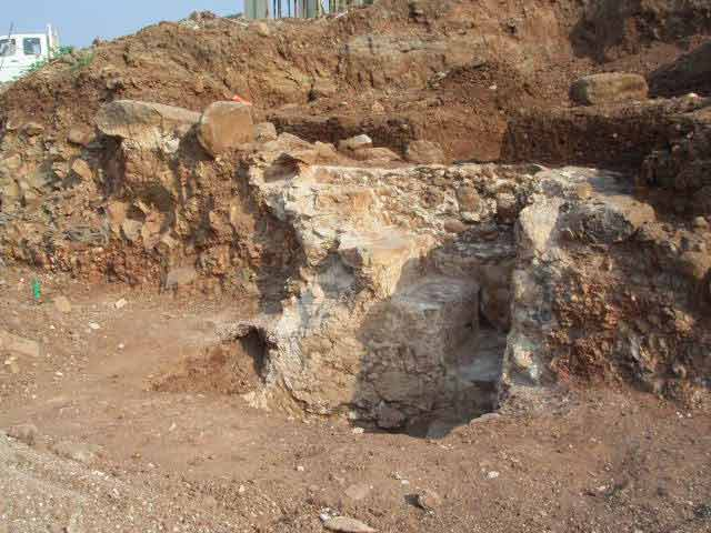 4. Collecting vat and remains of plaster to its north, looking east.
