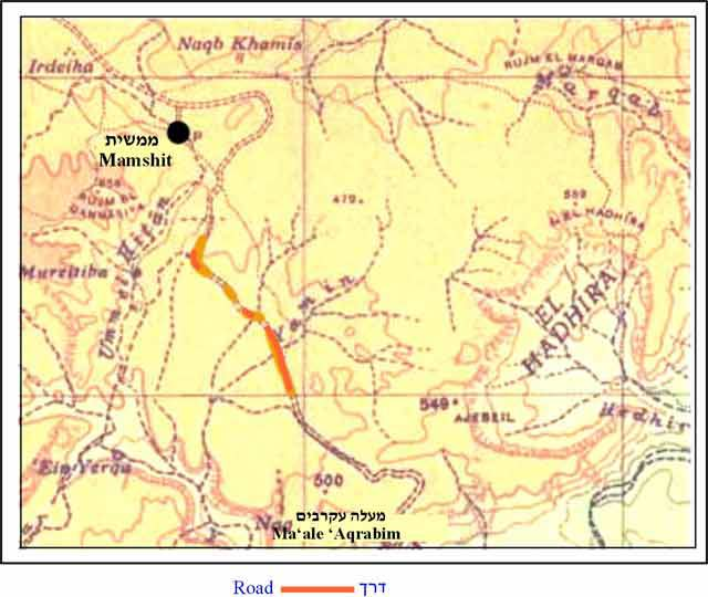 5. The Mamshit–Ma'ale 'Aqrabbim road; map dating to 1946.