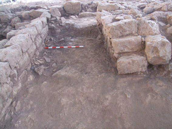 5. Courtyard, staircase and pithoi fragments, looking south.
