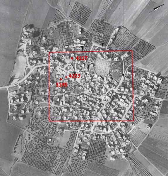 1. Aerial photograph of Sulam village with markings of previous excavations.