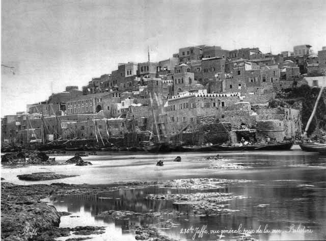 8. Yafo and the Ottoman seawall in center of harbor, looking east (photographed by Felix Bonfils, 1875).