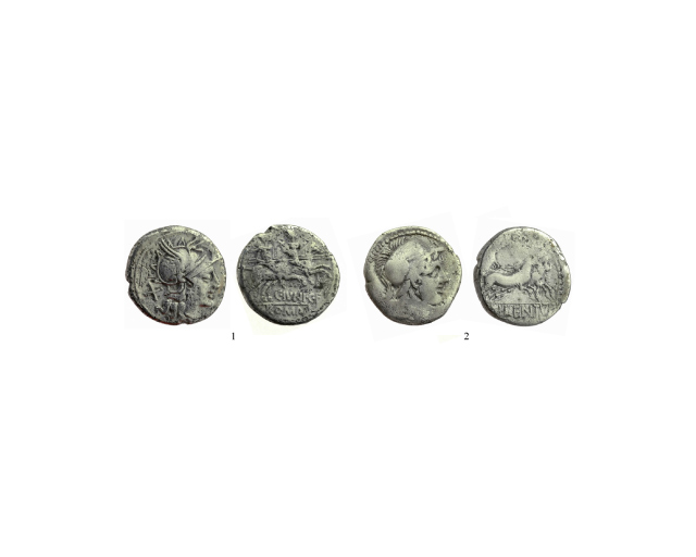 15. Two silver Roman republican coins.
