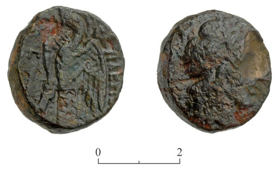 9. Bronze coin from the time of Ptolemy II.