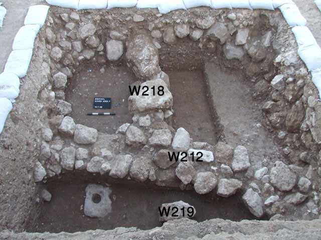 3. Square E2 at the end of excavation, looking west.