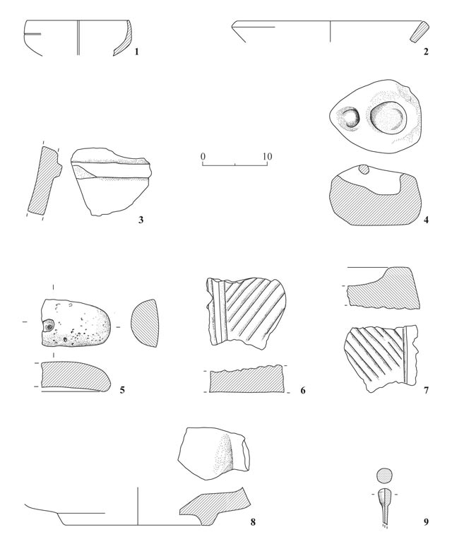 13. Chalk vessels, basalt grinding stones and a bone pin.