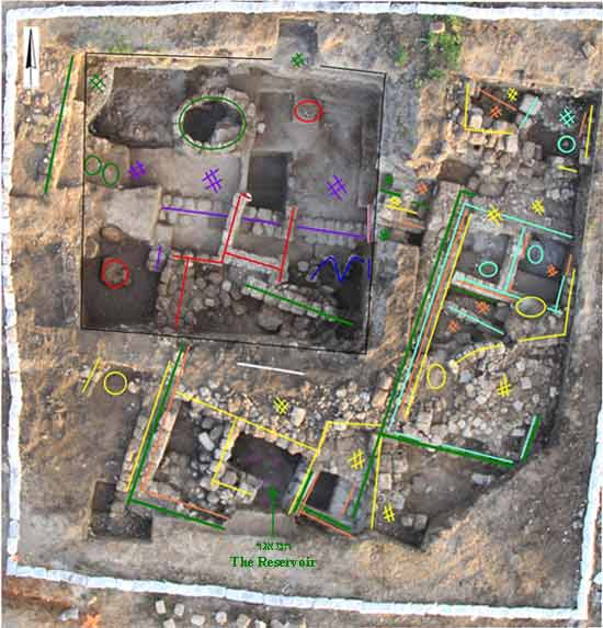 2. The excavation, aerial view and demarcation of the strata.