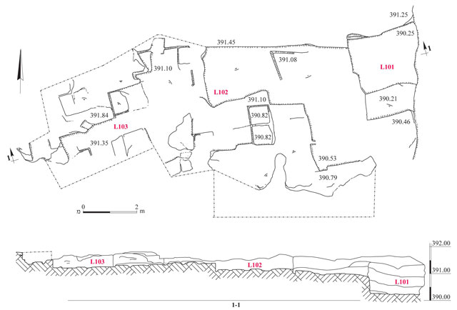 1. The quarry, plan and section.