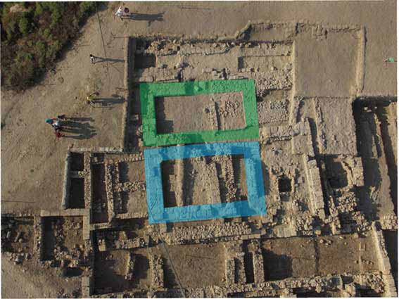 2. Area D1 (west), aerial view of 'Monument A' (blue) and 'Monument B' (green), looking north.