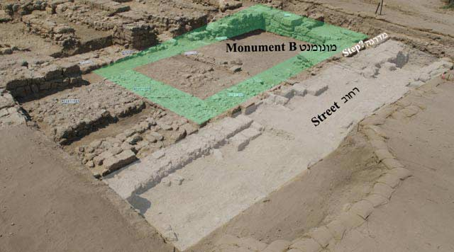 4. Area D1 (west), street from Roman period and 'Monument B', looking southwest.