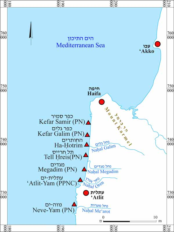 1. Map of the submerged sites along the northern Carmel coast.