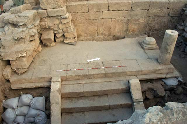 4. East end of preserved podium and stylobate of Early Shrine, looking west.