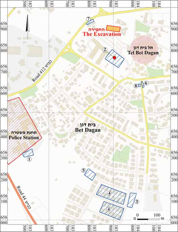 1. Location map of the site and of previous excavations.