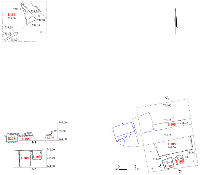 1. Winepress and quarry, plan and sections.
