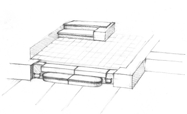 11. The entrance to the building and the vestibule, a schematic drawing.