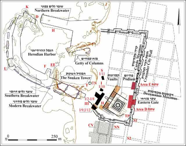 1. Roman and Crusader Caesarea, map of the excavations and the current excavation (sourced from ESI 17:38).