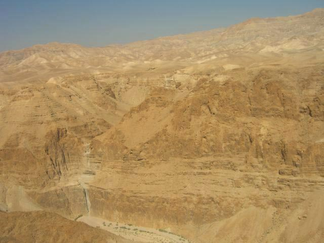 1. Bird's-eye view of Nahal David and Cave of the Pool, looking west.