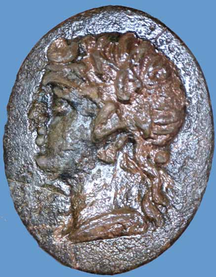 15. Hellenistic-period Bronze Bezel, probably depicting Apollo.
