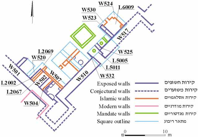 2. Excavated areas along south and east walls of the fort, plan.