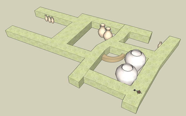 10. Area D5, proposed reconstruction of the Phase D5/11 building, including a schematic presentation of some pottery vessels uncovered <i>in situ</i>.