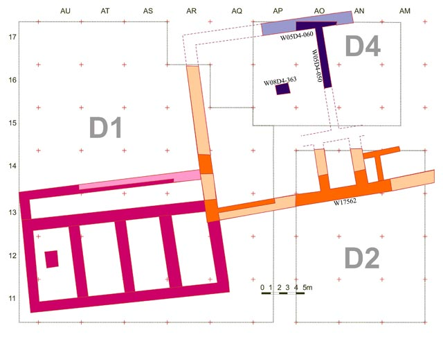 6. Area D4, the 'Hellenistic Palace' (blue walls were exposed in 2008 season), plan.